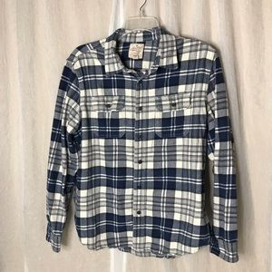 Heritage Men's Blue and White Plaid Flannel Shirt